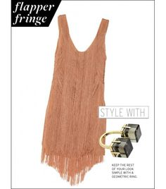 Haute Hippie Rayon Fringe Mini Dress ($695)   Marc by Marc Jacobs Cubes Double Vision Ring ($88) in Chinchilla
