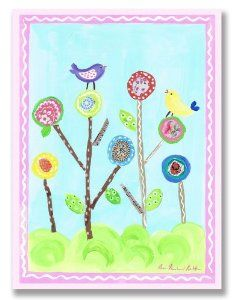 The Kids Room Rectangle Wall Plaque, Lollipop Flowers and Birds