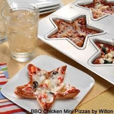 Cute for 4th of July or kids party..Heart shaped pizzas
