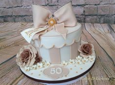 50th Gift Box Cake by Cake-D-Licious