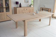 767a18531031b Table moderne extensible BOSTON - bois chêne blanchi massif
