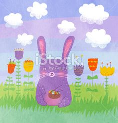 Violet easter rabbit Royalty Free Stock Photo
