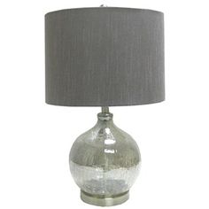 Smokey Crackle Glass Lamp with Gray Shade | Shop Hobby Lobby this would be perfect for the living room