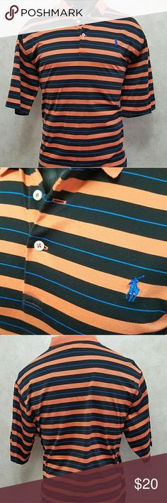 Ralph Lauren Polo GOLF Mens Large Orange Brand: Ralph Lauren Polo Golf  Size: Large  Color: Orange, Blue, Black  Material: 100% Cotton   Measurements Approx in inches:   Chest: 22 1/2  Length: 31 1/2  Sleeve: 11 1/2 Ralph Lauren Shirts Polos