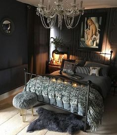 Eclectic bedrooms – Eclectic Home Decor Today Dark Romantic Bedroom, Glam Bedroom, Room Ideas Bedroom, Bedroom Colors, Home Bedroom, Bedroom Decor, Gothic Bedroom, Small Space Interior Design, Interior Design Living Room