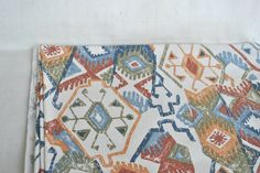 Vintage Cotton fabric with ethnic print, geometric ornaments Indians,  green brown orange colors, cotton fabric, geometric print by Klaptik on Etsy
