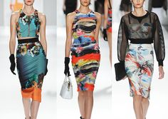 Milly by Michelle Smith S/S 2014-Abstract Brush Work – Painterly Illustrative Style – Photo Collage Bordered – Bold Painted Stripes – Japanese & Hawaiian Influences – Illust...