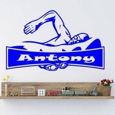 Decal Sticker Logo Nombre de natación Nadador Natación Carteles Quadro de Parede…
