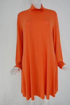 Plus Size High Neck Swing Dress in Orange - US$19.95 -YOINS
