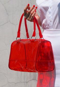 Transparent Clear Neon Light Bright jelly Boston Beach Bag Handbag Purse Clutch - Women - Handmade - Red