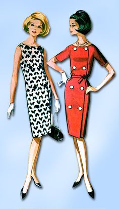 1960s Vintage McCalls Sewing Pattern 6714 Easy Misses Sheath Dress Size 12 32B