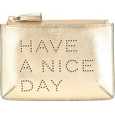Anya Hindmarch Have a Nice Day Purse ($198) ❤ liked on Polyvore featuring bags, handbags, metallic, metallic bag, metallic handbags, anya hindmarch, beige handbags and gold metallic handbags