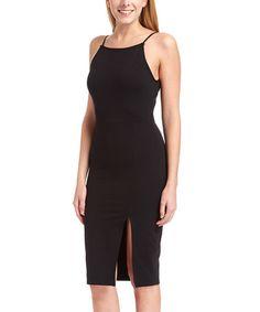 Look what I found on #zulily! Black Side-Slit Bodycon Dress #zulilyfinds