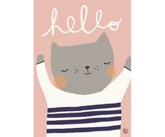 Póster Cat Hello By Aless Baylis