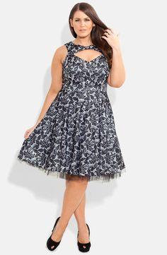 Bonded Lace Fit & Flare Dress (Plus Size) #plussize #dress #plussizedress #dresses