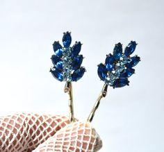 Royal Blue and Baby Blue Rhinestone Silver Leaf by JillsBoutique