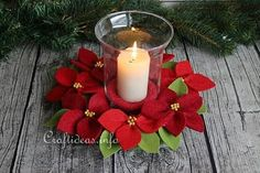 Felt Poinsettia Wreath Centerpiece | This easy Christmas craft is a budget-friendly way to add some holiday spirit to any room in your home. Diy Christmas Decorations Easy, Easy Christmas Crafts, Christmas Centerpieces, Christmas Projects, Simple Christmas, Christmas Wreaths, Christmas Ornaments, Christmas Tables, Coastal Christmas
