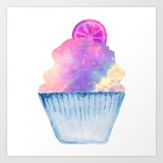 Art Print, Watercolor Cupcake, Watercolor, Art, Cupcake, Society 6, The Creatologist