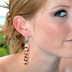Red Garnet Dangle Earrings / Orange Quartz Teardrops /