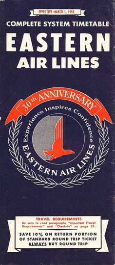 470d1f7d80 Eastern Airlines Vintage Airline Timetable from 1958 Airline Logo