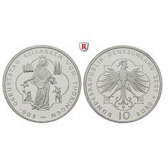 Bundesrepublik Deutschland, 10 Euro 2007, Elisabeth von Thüringen, A, PP, J. 532: 10 Euro 2007 A. Elisabeth von Thüringen. J. 532;… #coins