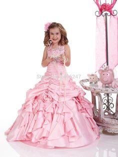 Custom Made Pink Floor Length Tank Crepe Pleat Pageant Dresses For Little Girls Halter Crystal Flower Girls Dresses Cheap
