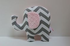 Modern pink gray nursery Elephant pillow decor - grey chevron