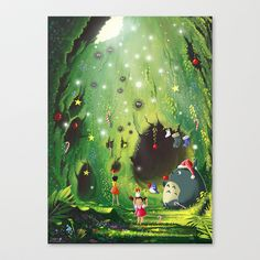 Totoro Christmas Stretched Canvas by Roberto Nieto - $85.00