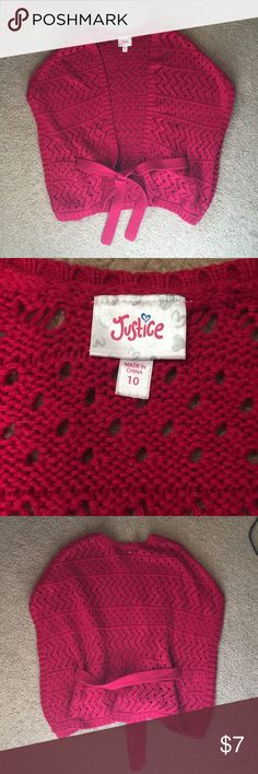 Girls size 10 justice sweater Girls size 10 just a sweater. dark red color. Justice Sweaters Shrugs & Ponchos