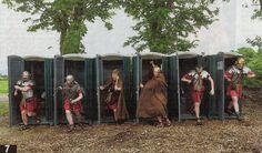 Romans exit portaloos in a hurry...