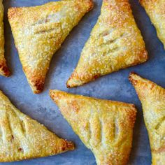 Whip up a fruit-filled dessert with this quick and easy recipe for peach turnovers made with store-bought puff pastry. Köstliche Desserts, Delicious Desserts, Dessert Recipes, Yummy Food, Chocolate Desserts, Fun Food, Breakfast Recipes, Dinner Recipes, Peach Turnovers