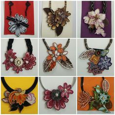 Batik Necklaces put up for purchase! Each piece is one and only! Handmade Accessories, 1 Piece, White Flowers, Collars, Necklaces, Black And White, Prints, How To Make, Jewelry