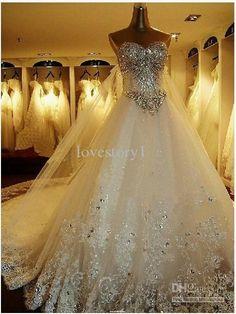 Wholesale Wedding Dresses - Buy 2014 Newest Romantic Luxury Bride Dress Crystals Cathedral Wedding Veil PETTICOAT Glove Free Buy 1 Get 3, $278.86 | DHgate