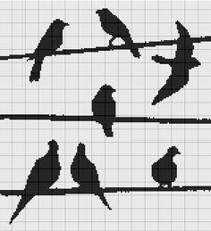 cross stitch pattern, birds on wires