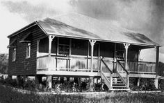 An old Queenslander. Raised above the ground, due to floods. This off the ground design is now being reinstated in Queensland thanks to the devastating Brisbane floods...
