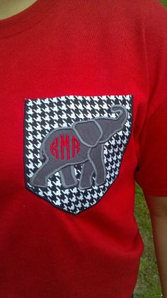 Houndstooth pocket tee with elephant by TheSouthernShop35950, $25.00