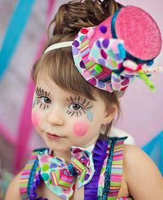 Clown face painting for girls
