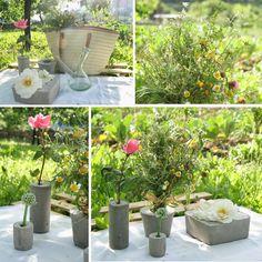 Mi niña decorando la mesa del picnic con un palet y los diy floreros de cemento + picnic campestre sobre un palet | Decorar en familia | DEF Deco
