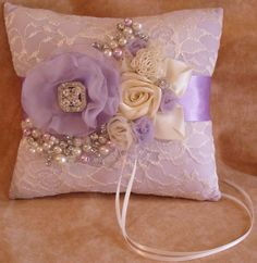 Lavender and Ivory Ring Bearers Pillow with by NellieKatzDesigns, $37.50
