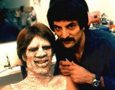 Creepshow - Behind the scenes photo of Tom Savini & Ted Danson Scary Movies, Horror Movies, Good Movies, Horror Art, Tom Savini, Makeup Masters, George Romero, Horror Makeup, Horror Icons