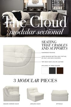 Cozy up with Cloud our best-selling leather sectional in endless configurations on zgallerie : best selling sectionals - Sectionals, Sofas & Couches