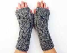 Resultado de imagen para owl fingerless gloves knitting pattern free
