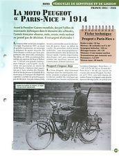 Moto Peugeot Paris Nice 1914 Estafette Cavalerie  WWI France Char FICHE FRANCE