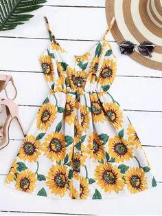 Cami Smocked Floral Mini Dress - WHITE ONE SIZE