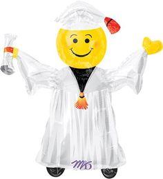 "Smiley Grad White Mini Shapes 14"" Globo Met G, COD: 1079102, UPC Code: 1079102, Venta En Linea, Mayoreo Globos, Metálicos/Mylar/Metalizados, Graduacion, México. Teleglobos.com"