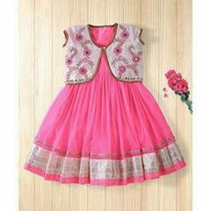 Twisha Fashionable Embroidered Jacket With Net Dress - Hot Pink Frocks For Girls, Little Girl Dresses, Girls Dresses, Baby Dresses, Kids Dress Wear, Kids Gown, Kids Frocks Design, Baby Frocks Designs, Baby Girl Dress Design