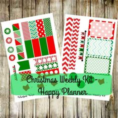 Happy Planner Christmas Weekly Kit- Red and Green Stockings Chevron by WhimsicalWende on Etsy