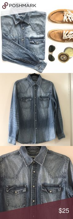 Western Denim Long Sleeve Snap Button Up Shirt Excellent condition. Two front snap button chest pockets. Snap button closures. 100% cotton. Express Shirts Casual Button Down Shirts