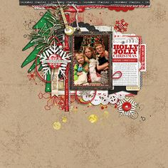 Holly Jolly Christmas such an adorable christmas scrapbook page by BessySue #designerdigitals