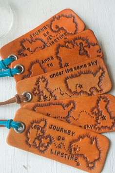 Handmade leather journey luggage tag a sweet intimate gift to your wife or hubby. You'll forever find your bags at the airport! // Found @MesaDreams on Etsy